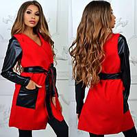 Красный стильный осенний кашемировый кардиган c кожаными карманами, рукавами и поясом. Арт-2265/11