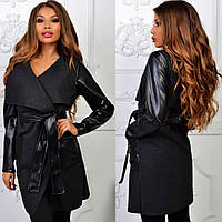 Черный стильный осенний кашемировый кардиган c кожаными карманами, рукавами и поясом. Арт-2265/11