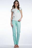 Женская пижама с брюками ментол/горохи. Размеры S-XXXL