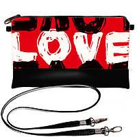 Черный стильный клатч с принтом Love