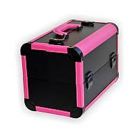 Чемодан металлический раздвижной розовый с черным K113