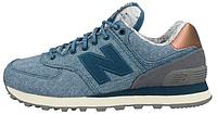 """Женские кроссовки New Balance WL 574 AEC """"Grey/Blue"""" Jeans Blue (Нью Баланс) голубые"""
