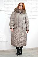 Длинное зимнее пальто Венера бежевый
