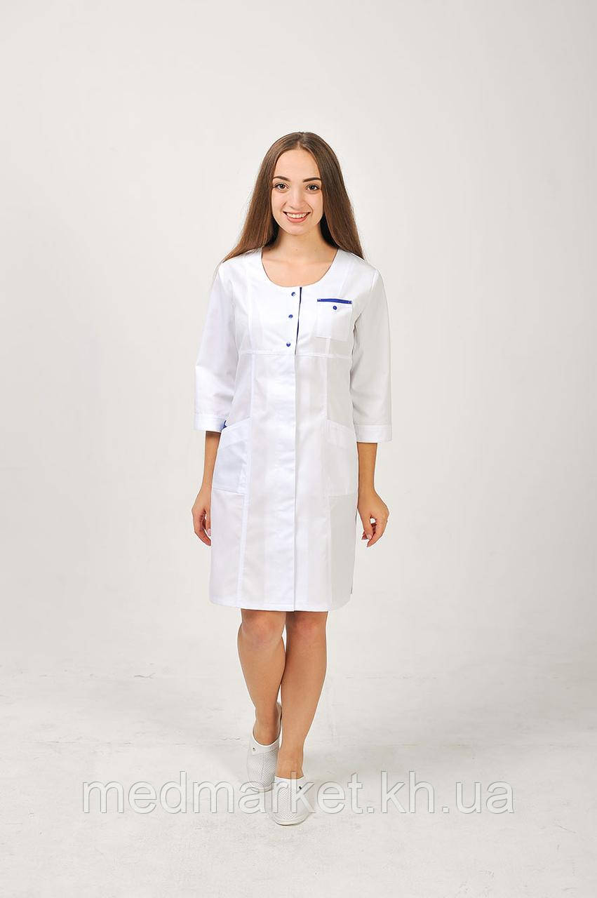 Медицинский женский халат Фламинго (белый+электрик) - Medmarket в Харькове
