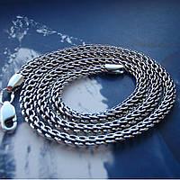 Серебряная цепочка мужская, 550мм, 24 грамма, плетение Питон, чернение
