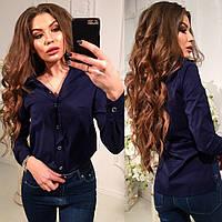 Темно-синяя шелковая женская стильная блуза-рубашка. Арт-2267/11