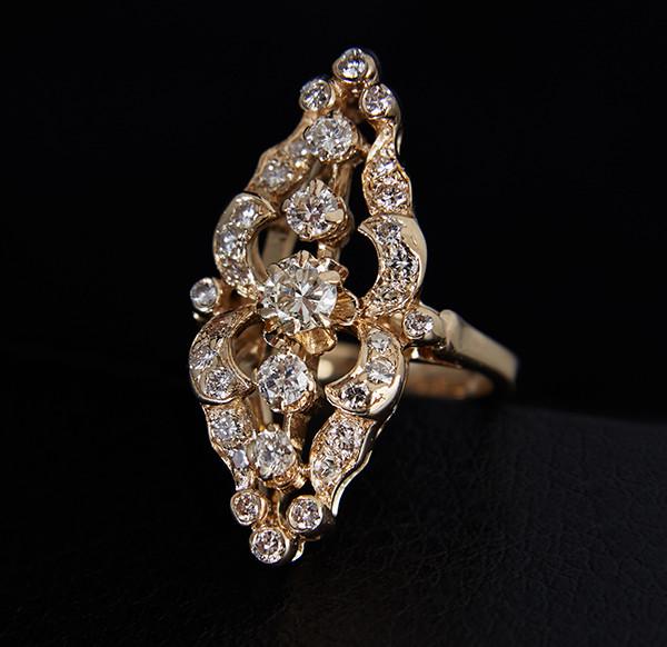 Кільце з жовтого золота з діамантами С31Л1№2