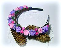Венок - ободок для волос с цветами-розами и ягодами ручной работы