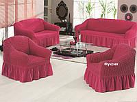 Комплект универсальных чехлов на мягкую мебель (2 дивана+2 кресла )капуччино
