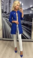 """Модный женский пиджак """"Шанель"""" с карманами, 42-56, синий"""