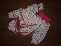 Теплый  комплект для новорожденных лапки розовый