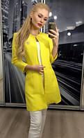 """Модный женский пиджак """"Шанель"""" с карманами, 42-56, желтый"""