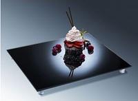Блюдо стеклянное зеркальное, прямоугольное 530х325мм, черная зеркальная оптика APS 00929