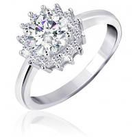 """Серебряное родированное кольцо с камнями """"435"""""""