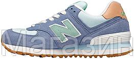 """Женские кроссовки New Balance 574 """"Blue/Green"""" (в стиле Нью Баланс 574) синие/мятные"""