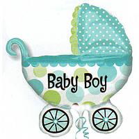 """Кулька фольгований на народження малюка великий """"Коляска блакитна"""" 75*70 див."""