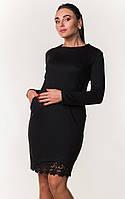 Платье с поясом и гипюровой вставкой ZANNA BREND 7288 M,L,XL (46,48,50) черный