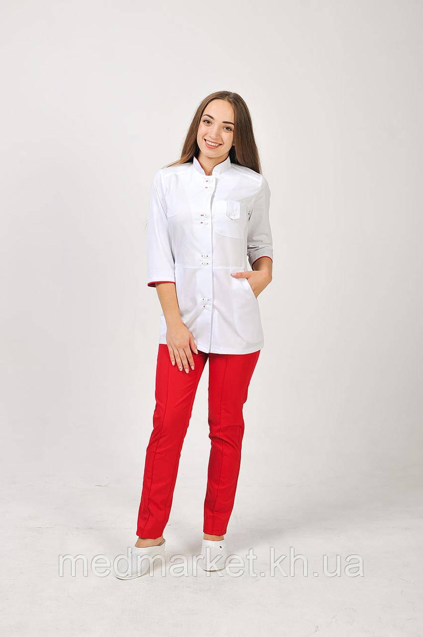 54e2e070f79 Медицинский женский костюм Рубина (комбинированный белый красный) -  MedMarket в Харькове