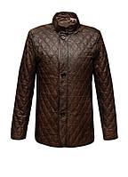 Мужская кожаная куртка Kurban укороченная стеганная коричневая