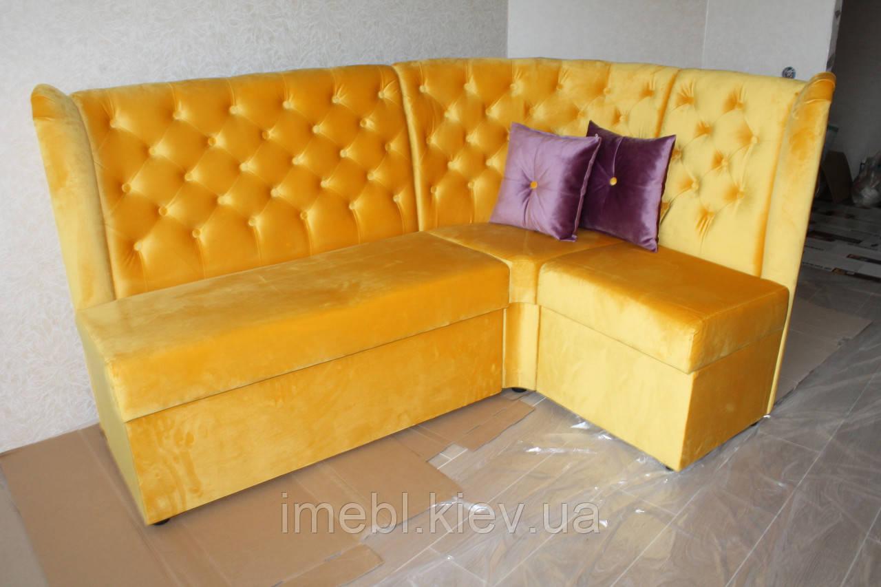 Мягкий диванчик для кухни в ткани яркого жёлтого цвета
