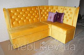 М'який диванчик для кухні в тканини яскравого жовтого кольору