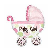 """Кулька фольгований на 1 - й День Народження малюка """"Коляска рожева"""""""