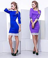 Женское приталенное платье с кружевом