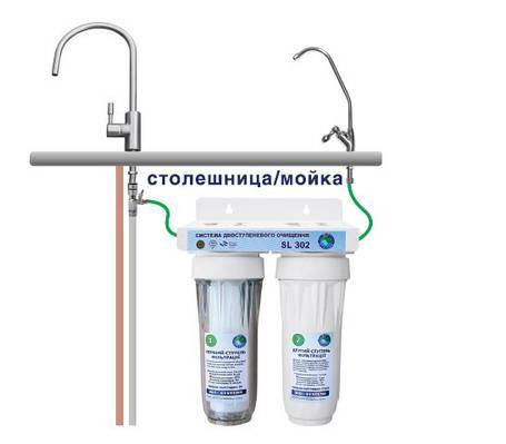 """Система 2-х ступенчатой очистки воды """"Bio+Systems"""" SL 302 с краником на мойку, фото 2"""
