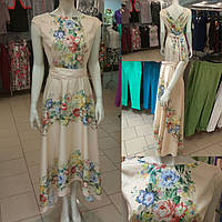 Длинное платье шелк с хлопком купон цветы Италия.