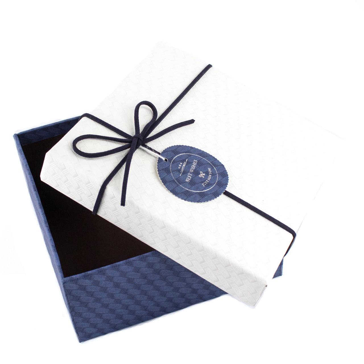 Подарочная коробка квадратная синяя с белой крышкой 17x17x8 см