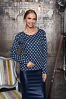 Женская темно-синяя блуза в горошек Лола Arizzo 44-52  размеры