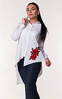 Женская блуза асимметрия с красным цветком вышивкой Zanna Brend 694 белый