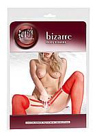 Красные чулки с клипсами для половых губ БДСМ 2490188  S-L