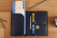 Чехол обложка для документов и билетов (синяя матовая кожа)