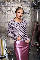 Женская розовая блуза в горошек Лола Arizzo 44-52  размеры
