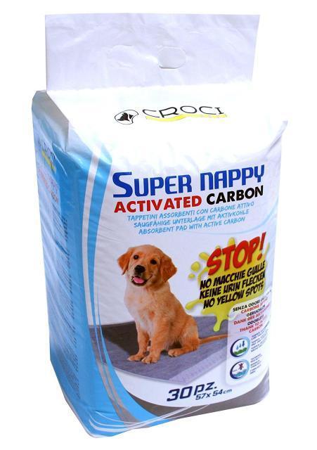 Пеленки для собак CaniAMici Super Nappy Carbon с активированным углем 57 x 54 см, 30 шт