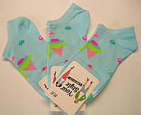 Низкие женские носки голубого цвета хлопковые в мороженое