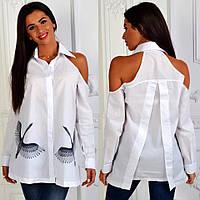 """Женская стильная рубашка-туника с открытыми плечами 710 """"Лебеди"""""""