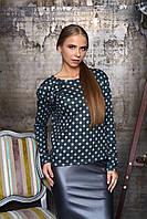 Женская блуза в горошек Лола антрацит Arizzo 44-52  размеры