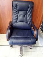 Кресло из натуральной кожи синее