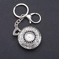 "Брелок часы женский ""Винтаж"" цвет металла ""серебро"" d-4 см"