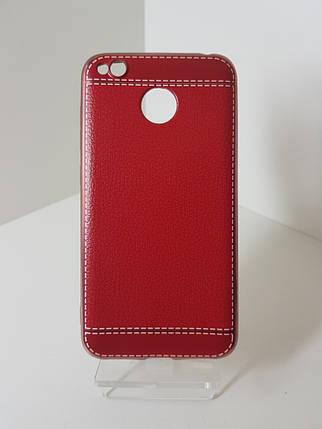 Кожаный чехол-бампер на Xiaomi Redmi 4X Red, фото 2