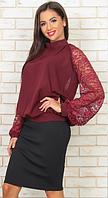 Шикарная блуза гипюр рукава и открытая спина - OV307а