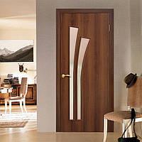 Двери межкомнатные  Пальма полотно остекленное орех, фото 1