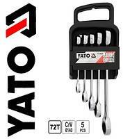 Набор ключей накидных с трещоткой 5 пр Yato YT-5038