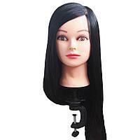 Манекен голова Брюнетка женская ученическая для причёсок с волосами
