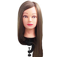 Манекен голова Шатенка женская ученическая для причёсок с волосами