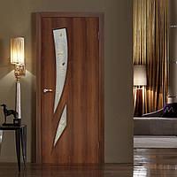 Двери межкомнатные Фиеста полотно остекленное орех, фото 1