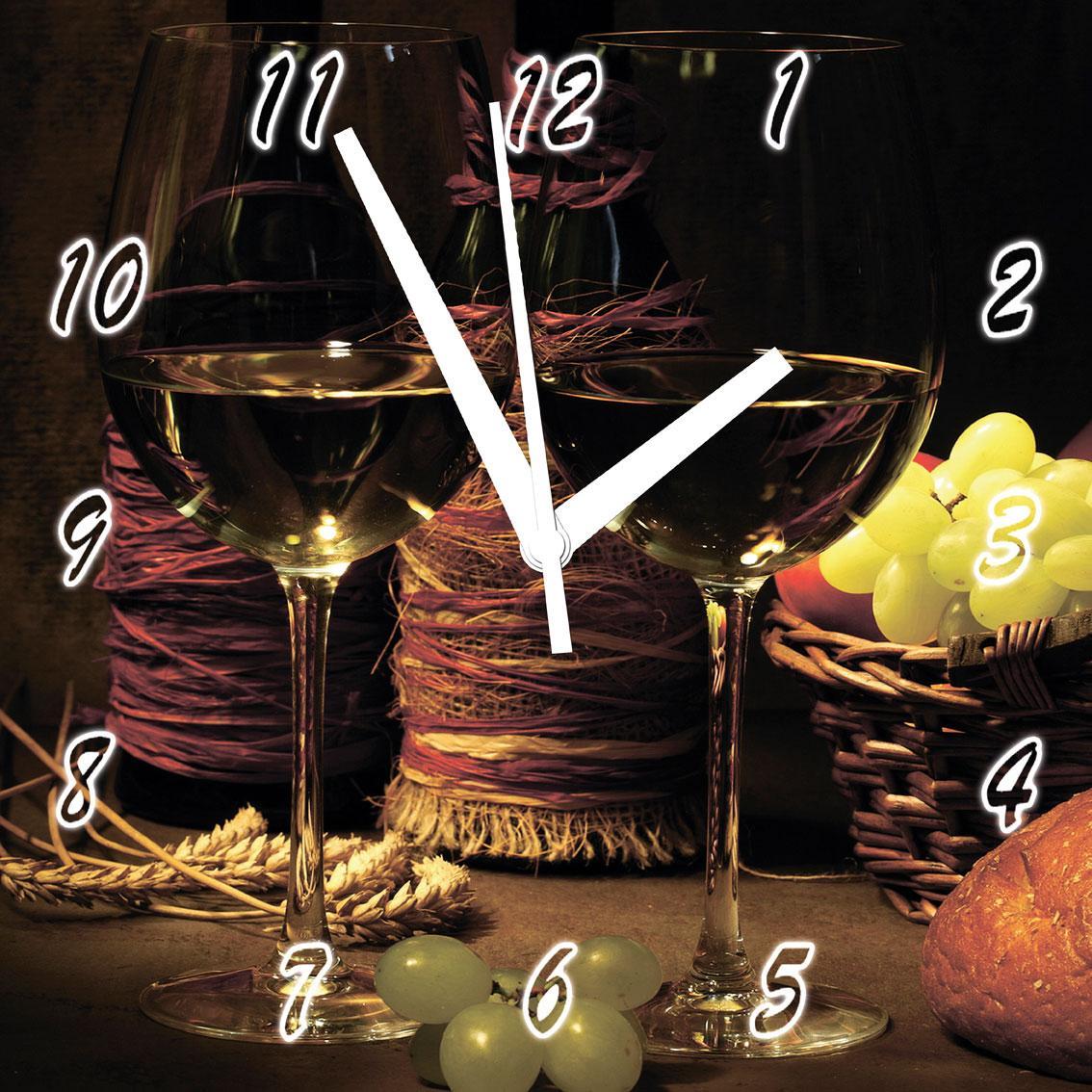 """Годинники настінні для кухні на склі """"Винний етюд"""" кварцові 40х40см"""