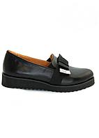 """Туфли женские """"бантик"""" черного цвета .Из натуральной кожи на низком ходу."""